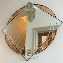 Large Vintage Miroir De Cheminée Ronde Sans Cadre Teinté Pêche Sans Renard Art Déco