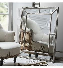 Lawson Grand Grand Cadre Rectangle Surmantelle Étain Miroir Mural Argent 38x30