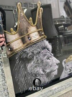 Lion Fierté Famille Couronnes D'or Image En Cristal Broyé Cadre, Lion Art De La Famille