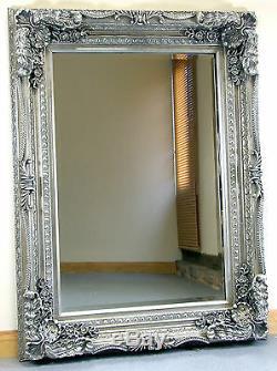 Louis Ornate Shabby Chic Vintage Grand Miroir Mural Français Argent 35 X 47