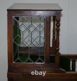Lovely Edwardian Oak Lead Lined Glass Chesterfield Buttoned Porters Fauteuil
