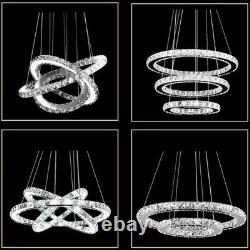 Lustre En Cristal De Led 2/3 Lampe Lumineuse De Pendentif De Plafond D'anneau