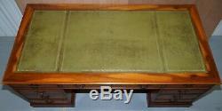 Luxe Énorme Supplémentaire Legroom Burr Yew Bois Double Pedestal Bureau Partenaire En Cuir Vert