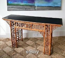 MI Élégante 20 C Grand Bureau Côté Oriental Chinois Bamboo Table Salle Console