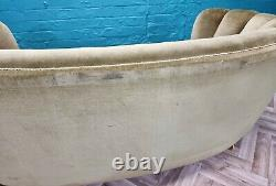 MID Century Art Deco Danish Green Velour 2 Seat'banana' Sofa Settee 1930s 40s