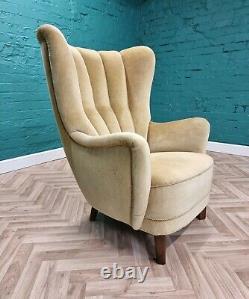 MID Century Art Deco Vintage Danois Jaune Velour Club Lounge Arm Chaise 1930s