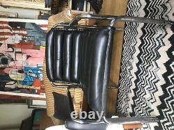 MID Century Leather Chrome Deco Style Chaise À La Manière De Eileen Gray Vintage