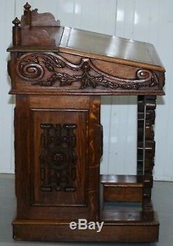 Main Superbe Sculpté De L'époque Victorienne Vers 1840 Davenport Tiroirs Bureau De Rédaction