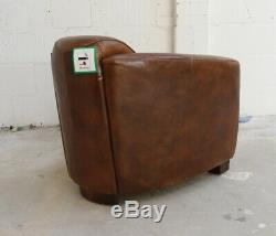 Marlborough Rocket Hudson Vintage Lounge Low Back Club De Bain En Cuir Chaise Brown