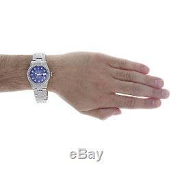 Mens Rolex Datejust 36mm Diamond Watch Entièrement Glacé Bande Personnalisé Cadran Bleu 5,10 Ct