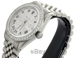 Mens Rolex Datejust 36mm Diamond Watch Jubilee Band Dial Pave Romaine Numéral 4 Ct