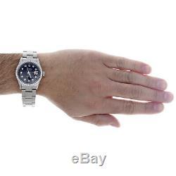 Mens Rolex Datejust 36mm Diamond Watch Oyster Band Custom Steel Cadran Noir 2 Ct