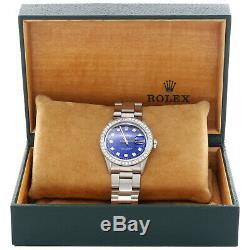 Mens Rolex Datejust 36mm Diamond Watch Oyster Steel Band Personnalisé Cadran Bleu 2 Ct