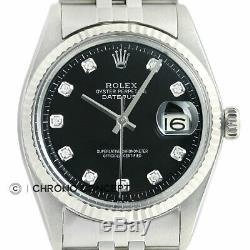 Mens Rolex Datejust Black Diamond Cadran + Rolex En Or Blanc 18 Carats Lunette