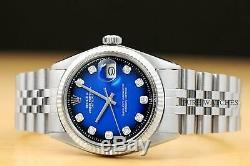 Mens Rolex Datejust Bleu Diamant Blanc Vignette Gold & Montre En Acier Inoxydable