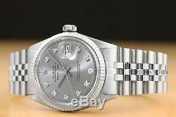 Mens Rolex Datejust Gris Diamant Cadran En Or Blanc 18 Carats Et Montre En Acier Inoxydable