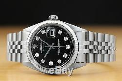 Mens Rolex Datejust White Gold & Black Diamond En Acier Inoxydable Cadran