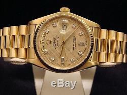 Mens Rolex Day Solid 18kt Or Jaune 18 Carats Date De Président Lin Diamant 18038