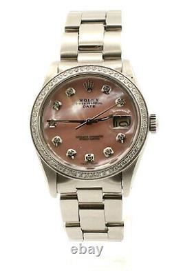 Mens Rolex Oyster Perpetual Date De 34mm Rose Mop Dial Diamond Watch Inoxydable