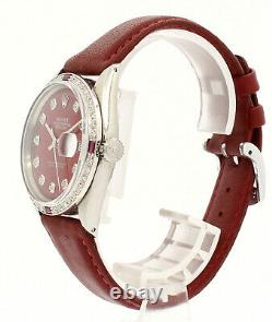 Mens Rolex Oyster Perpetual Datejust 36mm Shiny Red Roman Dial Diamond Watch