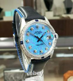 Mens Vintage Rolex Oyster Perpetual Date 34mm Blue Opal Dial Diamond Inoxydable
