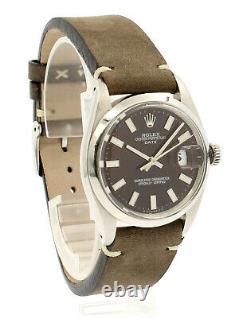 Mens Vintage Rolex Oyster Perpetual Date 34mm Brown Dial Montre En Acier Inoxydable