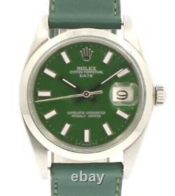 Mens Vintage Rolex Oyster Perpetual Date 34mm Green Dial Montre En Acier Inoxydable
