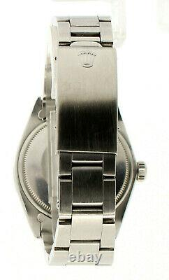 Mens Vintage Rolex Oyster Perpetual Date 34mm Green Opal Dial Diamond Inoxydable