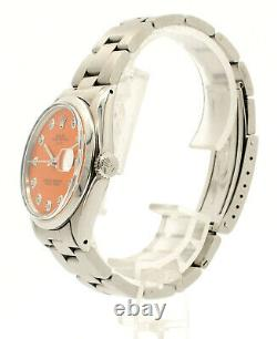 Mens Vintage Rolex Oyster Perpetual Date 34mm Orange Dial Diamond Inoxydable