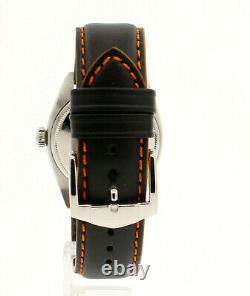 Mens Vintage Rolex Oyster Perpetual Date 34mm Orange Dial Montre En Acier Inoxydable