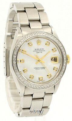 Mens Vintage Rolex Oyster Perpetual Date 34mm White Mop Dial Diamond Steel Watch