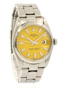 Mens Vintage Rolex Oyster Perpetual Date 34mm Yellow Dial Montre En Acier Inoxydable