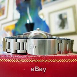 Mens Vintage Rolex Oyster Perpetual Date De 34mm Cadran Argenté Montre En Acier Inoxydable