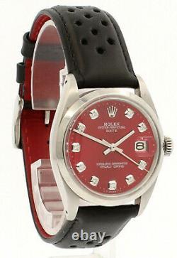 Mens Vintage Rolex Oyster Perpetual Date De 34mm Rouge Brillant Cadran Montre En Acier