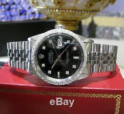 Mens Vintage Rolex Oyster Perpetual Datejust 36mm Couleur Black Diamond Cadran