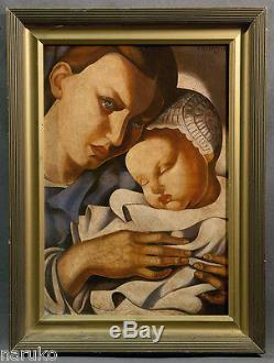 Mère Et Enfant Peinture À L'huile Huile Sur La Toile 20 X 28,5 Signé Tamara Lempicka