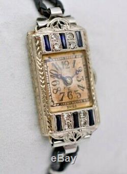 Mesdames Art Deco Sapphire & Diamant Perla Montre, Or Blanc 18 Carats, Plaqué Platine