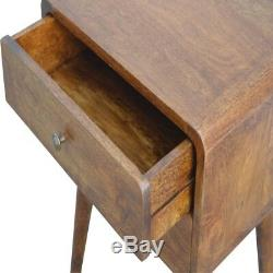 Meuble De Table De Chevet De Style Art Déco À Bord Incurvé En Bois Foncé, Milieu Du Siècle