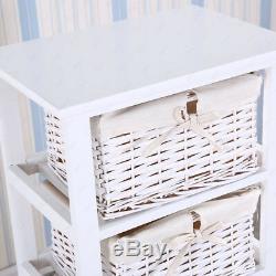 Meuble De Table De Chevet Shabby Chic En Bois Blanc Avec Rangement Pour 4 Paniers En Osier
