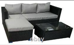 Meubles Extérieurs Noirs De Jardin De Rotin 4 Sofa D'angle De Siège Et Ensemble De Patio De Table Basse