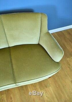 Milieu Du Siècle Art Déco Danoise Mint Green Velour 3 Seat 1940 Banana Sofa Settee
