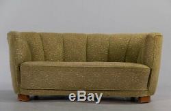 Milieu Du Siècle Art Déco Danoise Vert 2 Seat'banana ' Sofa Settee 1930 40s