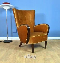 Milieu Du Siècle Art Déco Vintage Danish Or Club Lounge Velour Fauteuil Années 1930 40s