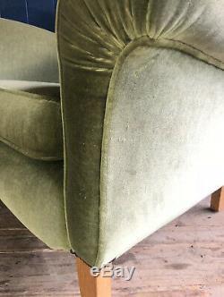 Milieu Du Siècle Wingback Fauteuil Vert Velours Tissu Chêne Jambes Livraison