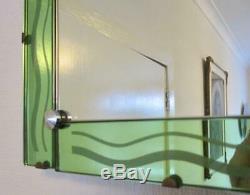 Miroir À Bordures Menthe Vertes De Style Art Déco Odeon Original Des Années 1930