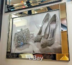 Miroir Cadre Sac À Chaussures Image Avec Mur En Verre Glitter À Cristaux Liquides Art 95x75cm
