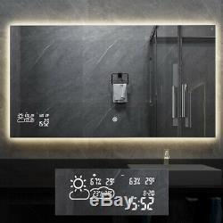 Miroir De Salle De Bain Pour Miroir Anti-buée Mural Avec Calendrier Météo À Led