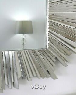 Miroir Mural Argent Art Déco Hamilton Sunburst 50 X 35 (127cm X 89cm)
