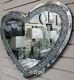 Miroir Mural En Forme De Coeur Avec Incrusté De Gros Diamants / Cristaux Concassés