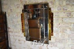 Miroir Vintage De Style Art Deco Avec Un Miroir Ambre Antique